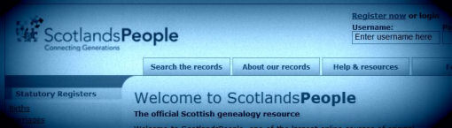 screenshot of ScotlandsPeople website