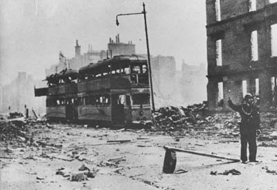 Two burned-out Corporation trams on Dumbarton Road near Pattison Street in Dalmuir, in the aftermath of the Blitz in March 1941.