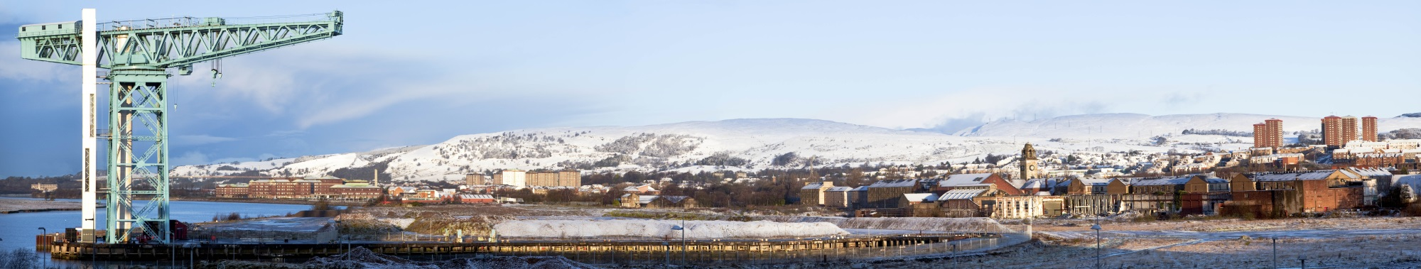 Titan Crane and Clydebank covered in snow