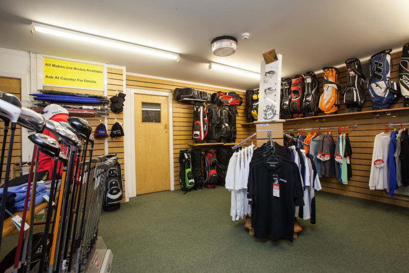 image of Inside the Pro Shop - polo shirts and golf bags