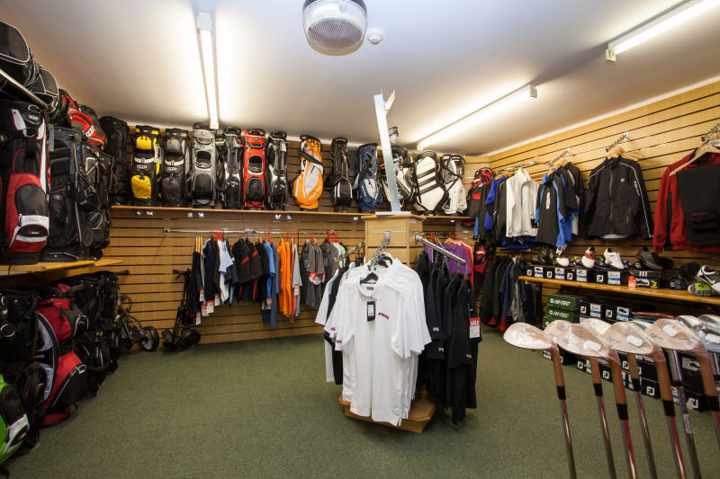 image of Inside the Pro Shop - polo shirts and golf bags and wedges