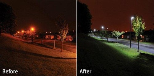 LED Street Lights Before/After
