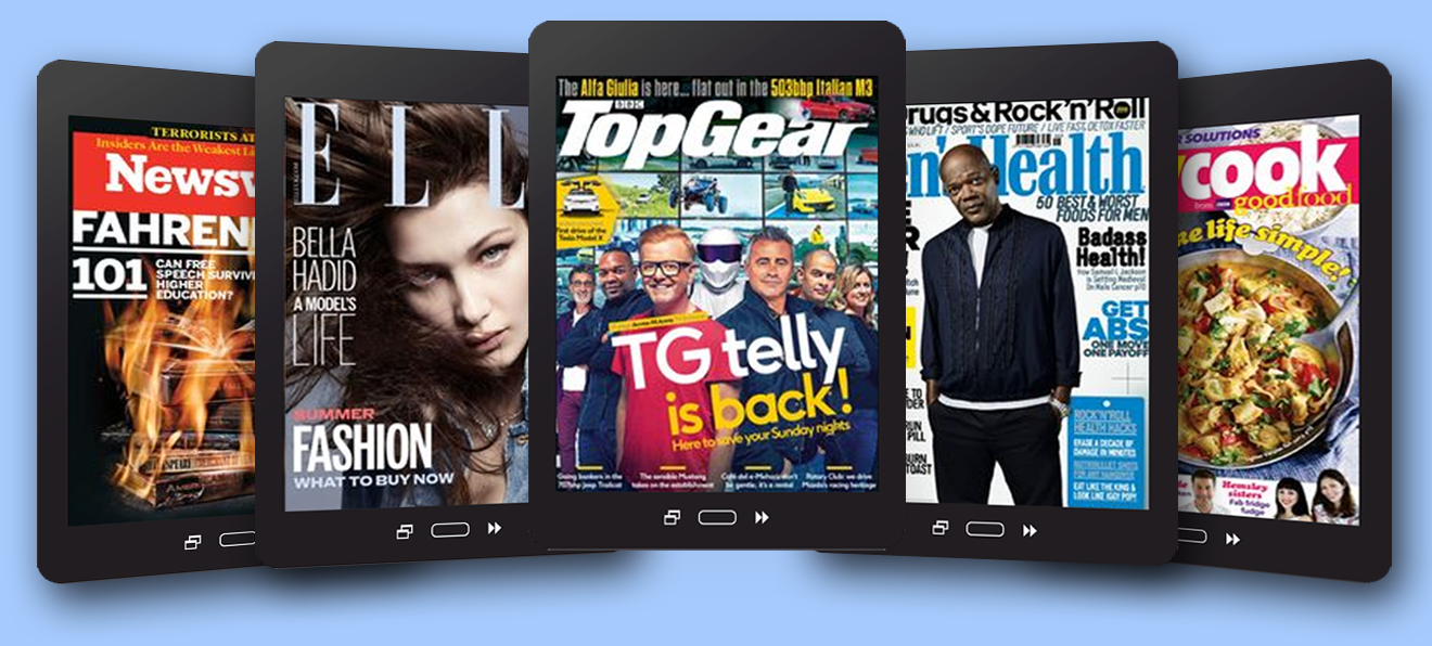 emagazine banners - 5 tablets with 5 different magazine front pages