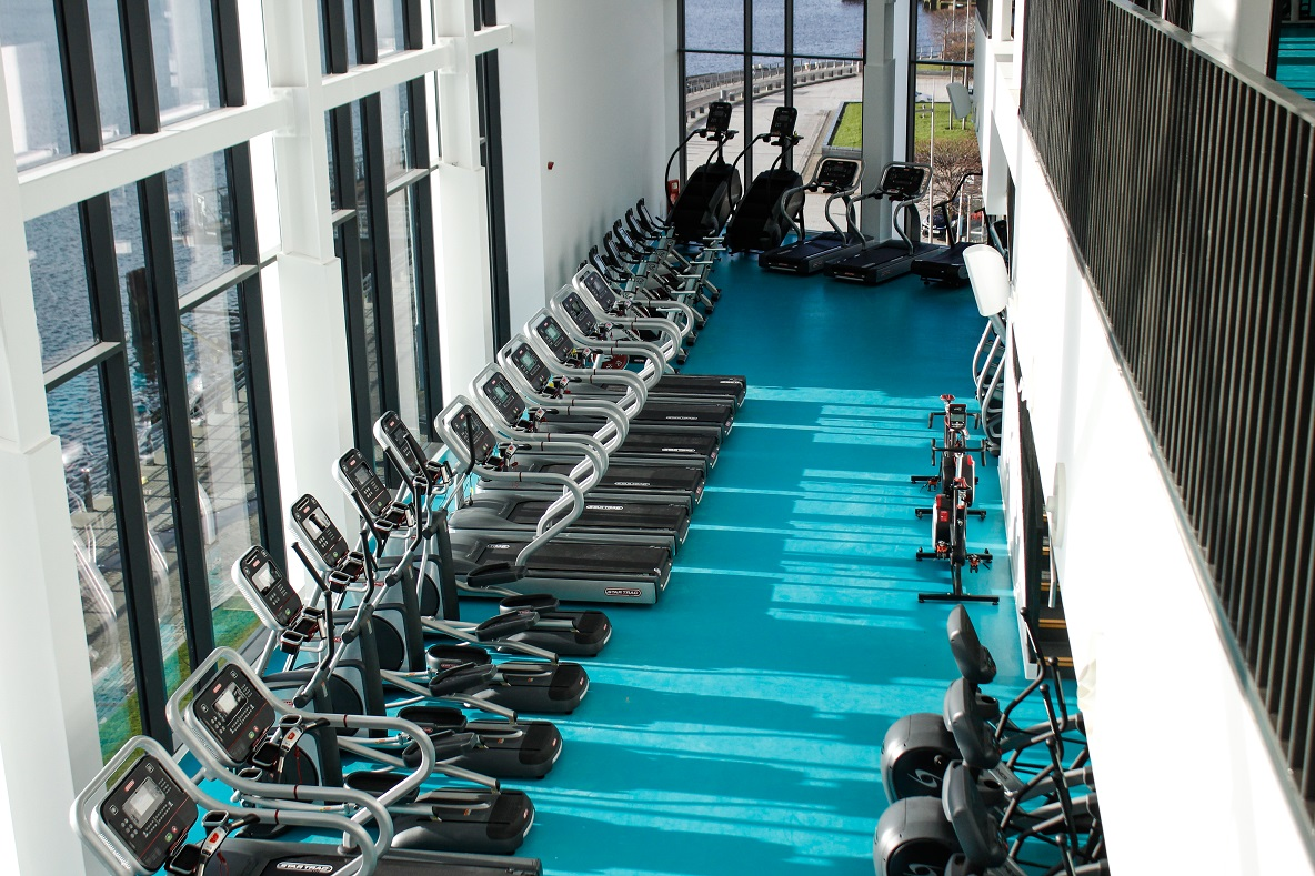 image of Looking down onto equipment in the gym