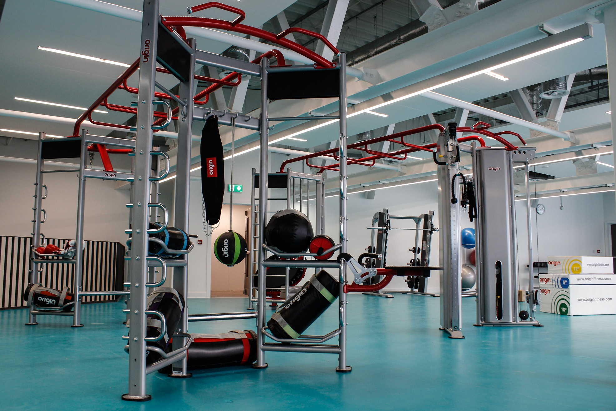 image of Gym equipment, weights and frames