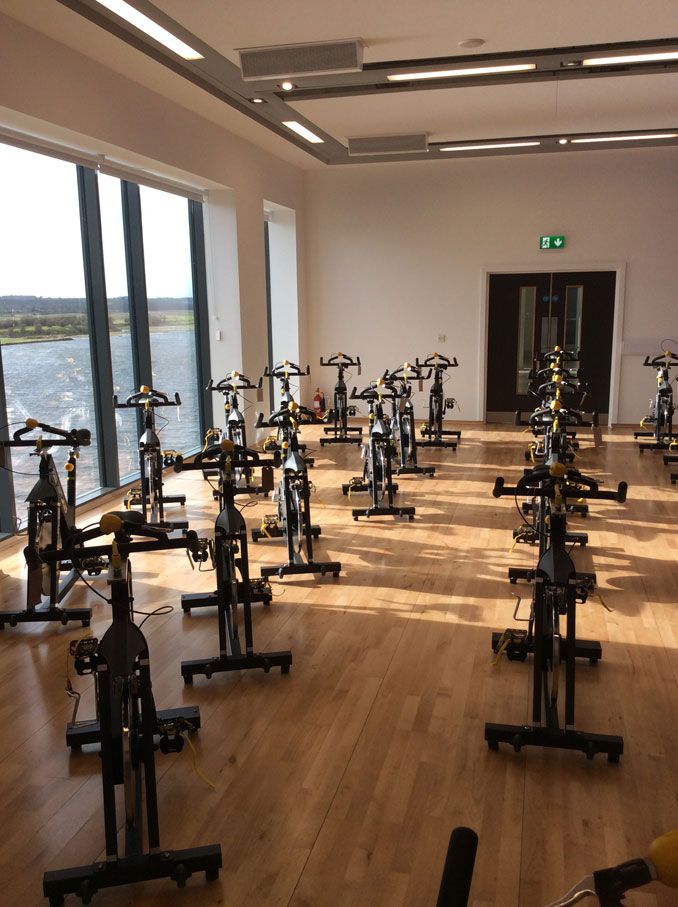 View of all the bikes in the spin studio 22